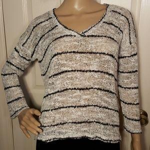 Splendid White & Black Striped Loose Knit Sweater